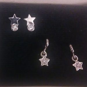 Silver stars pierced earrings